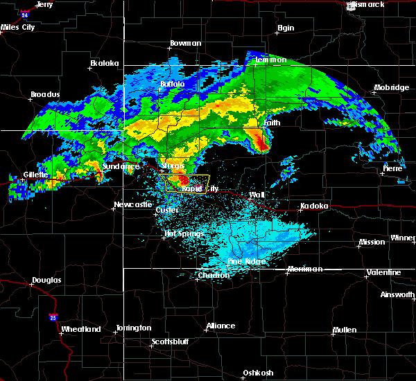 Radar Image for Severe Thunderstorms near Box Elder, SD at 7/13/2020 11:40 PM MDT
