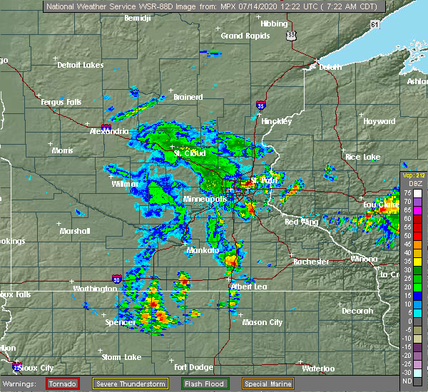 Radar Image for Severe Thunderstorms near Afton, MN at 7/14/2020 7:25 AM CDT