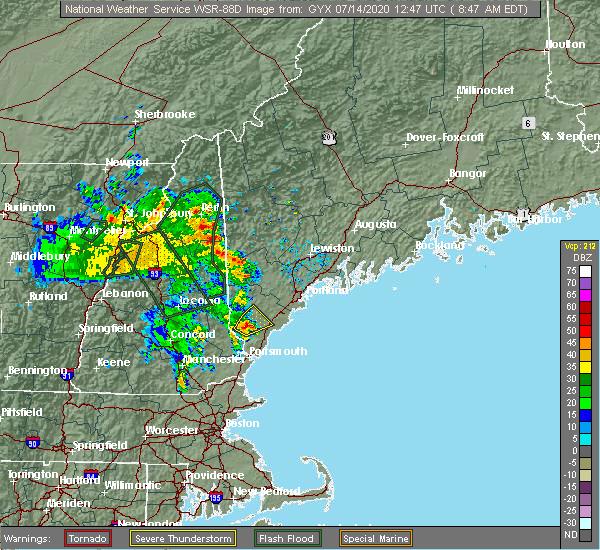 Radar Image for Severe Thunderstorms near Sanford, ME at 7/14/2020 8:52 AM EDT