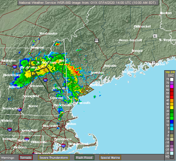 Radar Image for Severe Thunderstorms near Portland, ME at 7/14/2020 10:06 AM EDT