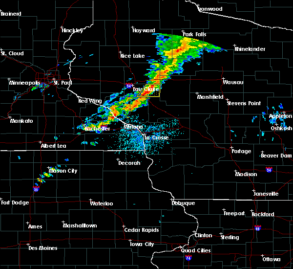 Radar Image for Severe Thunderstorms near Greenwood, WI at 7/14/2020 4:17 PM CDT