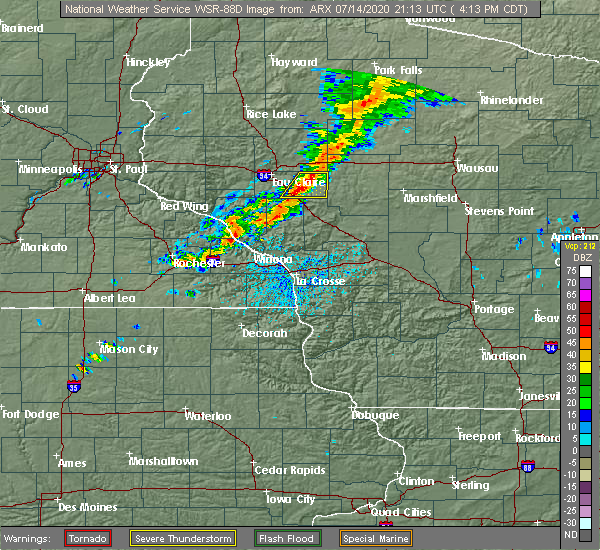 Radar Image for Severe Thunderstorms near Augusta, WI at 7/14/2020 4:23 PM CDT