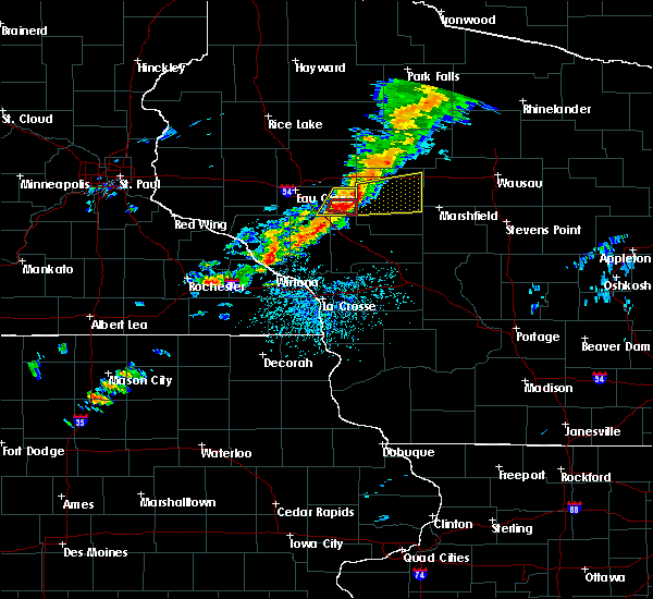 Radar Image for Severe Thunderstorms near Greenwood, WI at 7/14/2020 4:26 PM CDT
