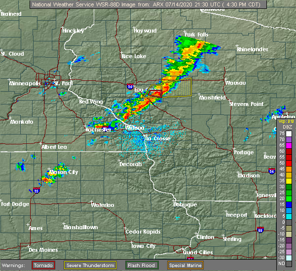 Radar Image for Severe Thunderstorms near Augusta, WI at 7/14/2020 4:36 PM CDT