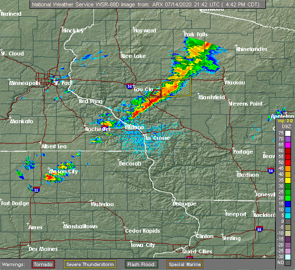 Radar Image for Severe Thunderstorms near Greenwood, WI at 7/14/2020 4:47 PM CDT