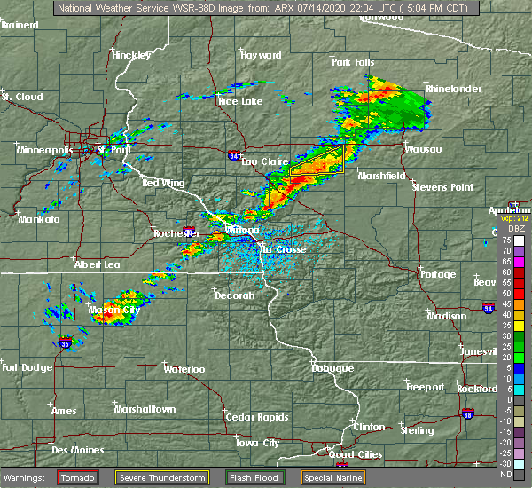 Radar Image for Severe Thunderstorms near Hatfield, WI at 7/14/2020 5:10 PM CDT