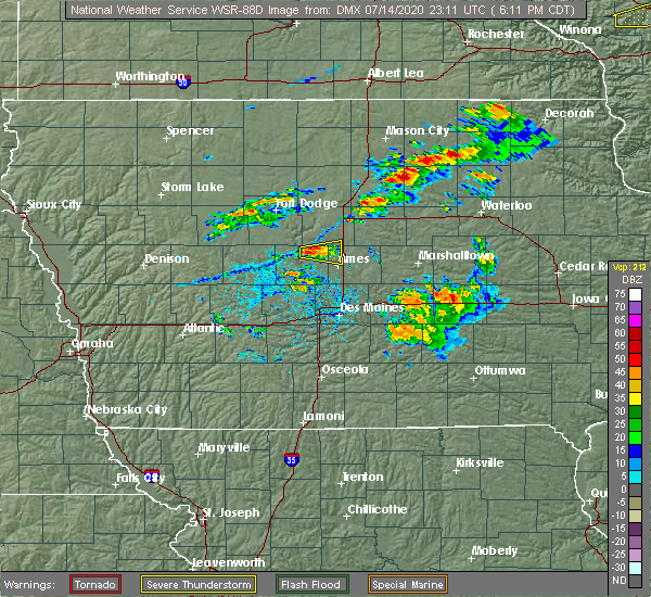 Radar Image for Severe Thunderstorms near Ames, IA at 7/14/2020 6:13 PM CDT