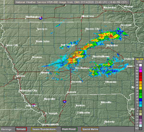 Radar Image for Severe Thunderstorms near Ames, IA at 7/14/2020 6:55 PM CDT