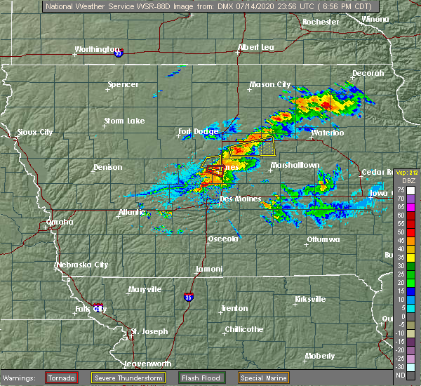 Radar Image for Severe Thunderstorms near Ames, IA at 7/14/2020 7:04 PM CDT