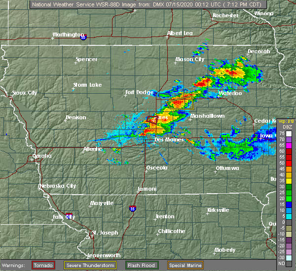 Radar Image for Severe Thunderstorms near Grimes, IA at 7/14/2020 7:19 PM CDT