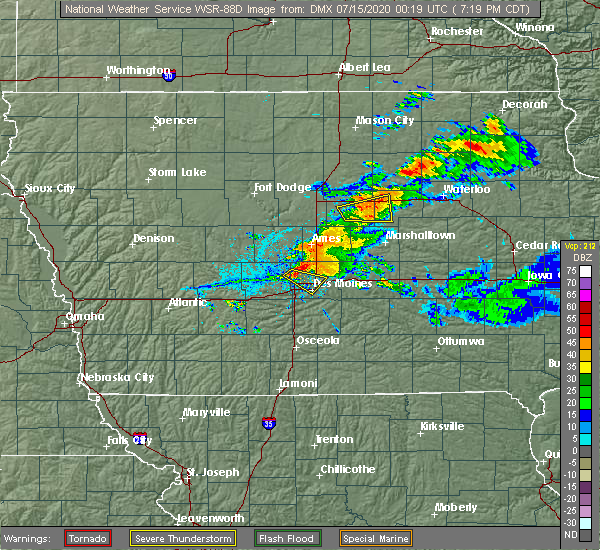 Radar Image for Severe Thunderstorms near Des Moines, IA at 7/14/2020 7:25 PM CDT