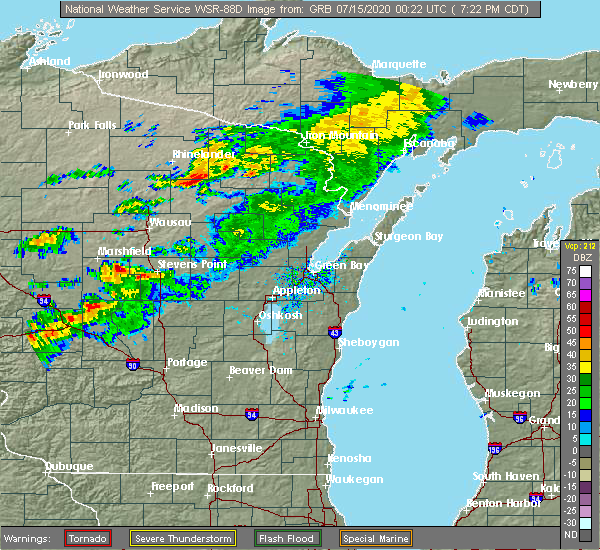 Radar Image for Severe Thunderstorms near Mosinee, WI at 7/14/2020 7:27 PM CDT