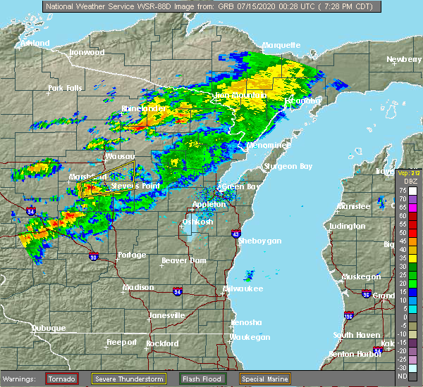 Radar Image for Severe Thunderstorms near Mosinee, WI at 7/14/2020 7:37 PM CDT
