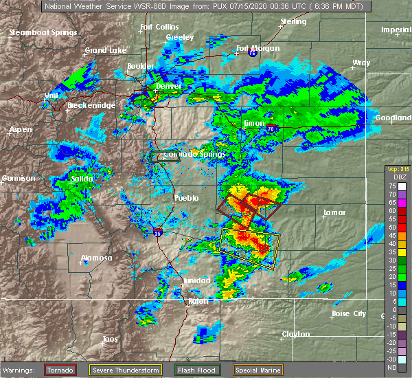 Radar Image for Severe Thunderstorms near North La Junta, CO at 7/14/2020 6:40 PM MDT