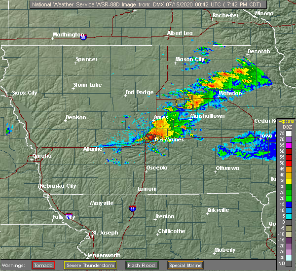 Radar Image for Severe Thunderstorms near Grimes, IA at 7/14/2020 7:44 PM CDT