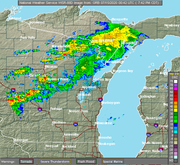 Radar Image for Severe Thunderstorms near Mosinee, WI at 7/14/2020 7:49 PM CDT