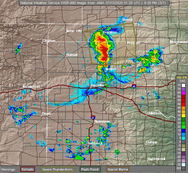 Radar Image for Severe Thunderstorms near Hooker, OK at 7/14/2020 8:30 PM CDT