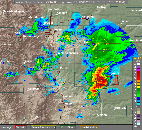 Radar Image for Severe Thunderstorms near Lamar, CO at 7/14/2020 7:41 PM MDT