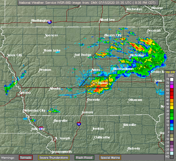 Radar Image for Severe Thunderstorms near Pleasantville, IA at 7/14/2020 8:43 PM CDT