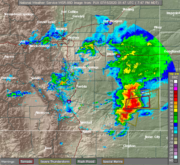 Radar Image for Severe Thunderstorms near Lamar, CO at 7/14/2020 7:49 PM MDT