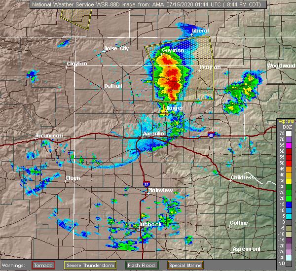 Radar Image for Severe Thunderstorms near Hooker, OK at 7/14/2020 8:50 PM CDT