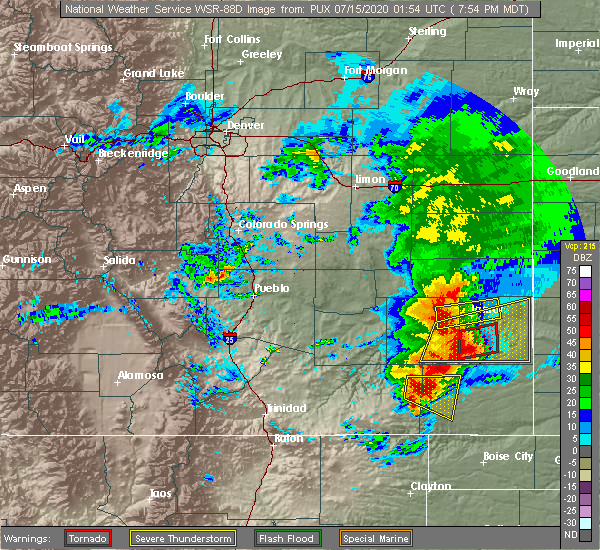 Radar Image for Severe Thunderstorms near Lamar, CO at 7/14/2020 8:01 PM MDT