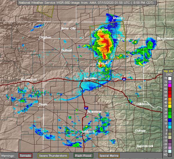 Radar Image for Severe Thunderstorms near Hooker, OK at 7/14/2020 9:03 PM CDT