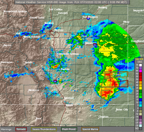 Radar Image for Severe Thunderstorms near Lamar, CO at 7/14/2020 8:14 PM MDT