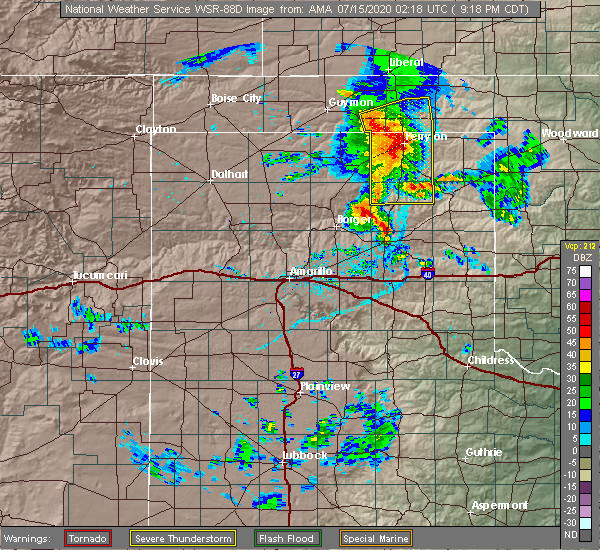 Radar Image for Severe Thunderstorms near Perryton, TX at 7/14/2020 9:21 PM CDT