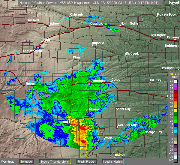 Radar Image for Severe Thunderstorms near Holly, CO at 7/14/2020 9:22 PM MDT