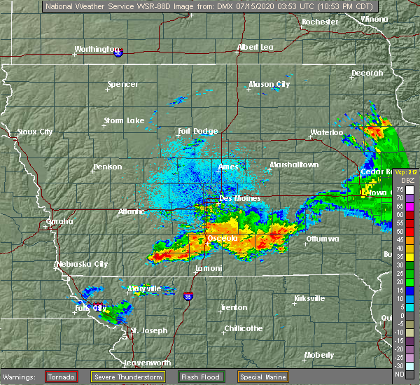 Radar Image for Severe Thunderstorms near Shannon City, IA at 7/14/2020 11:03 PM CDT