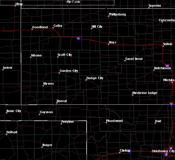 Radar Image for Severe Thunderstorms near Kismet, KS at 7/14/2020 11:17 PM CDT