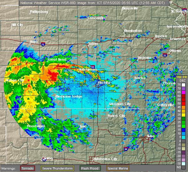 Radar Image for Severe Thunderstorms near Arlington, KS at 7/15/2020 1:00 AM CDT