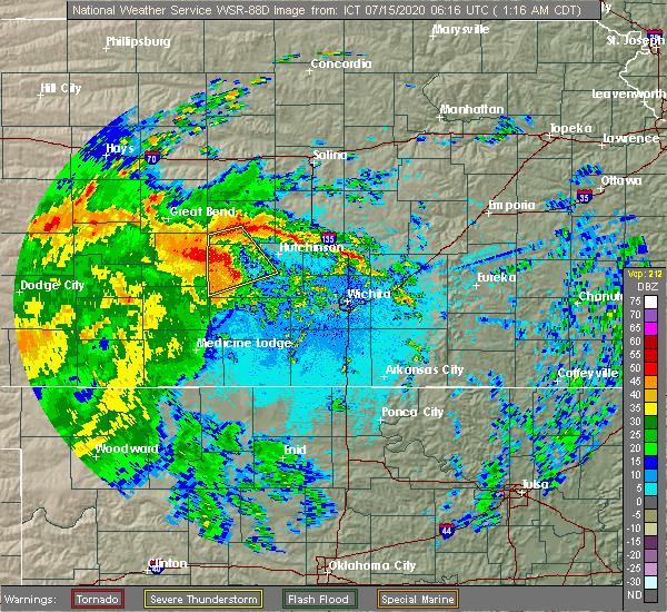 Radar Image for Severe Thunderstorms near Arlington, KS at 7/15/2020 1:20 AM CDT