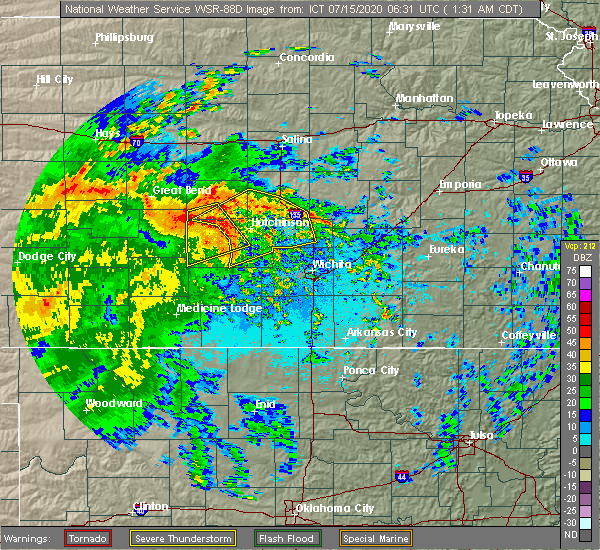 Radar Image for Severe Thunderstorms near Halstead, KS at 7/15/2020 1:33 AM CDT