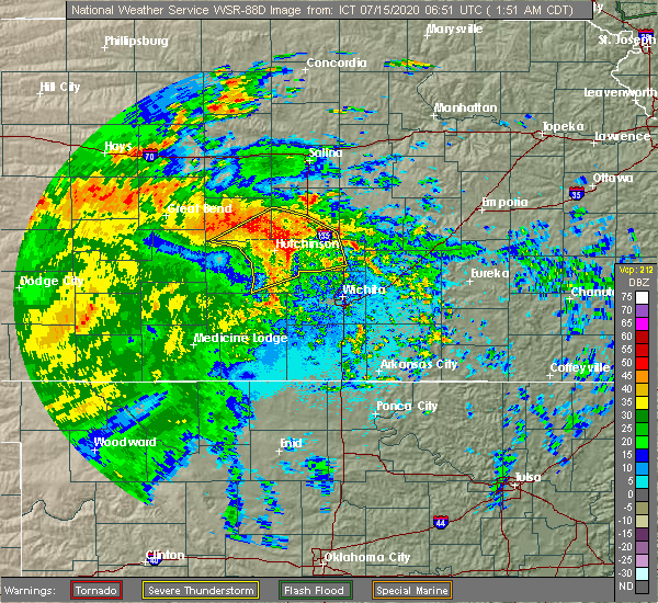 Radar Image for Severe Thunderstorms near Halstead, KS at 7/15/2020 1:57 AM CDT