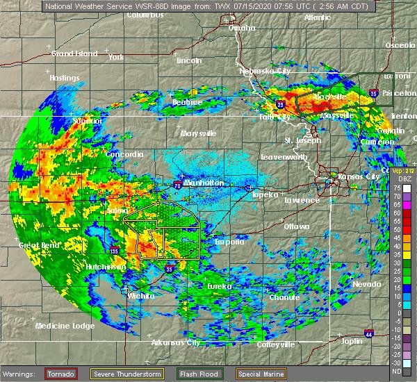Radar Image for Severe Thunderstorms near Cedar Point, KS at 7/15/2020 3:00 AM CDT