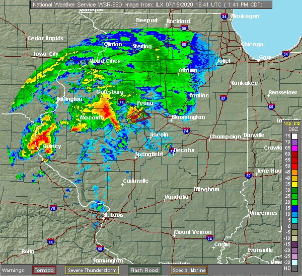 Radar Image for Severe Thunderstorms near East Peoria, IL at 7/15/2020 1:44 PM CDT