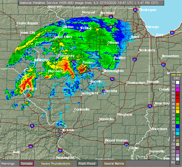Radar Image for Severe Thunderstorms near East Peoria, IL at 7/15/2020 1:52 PM CDT