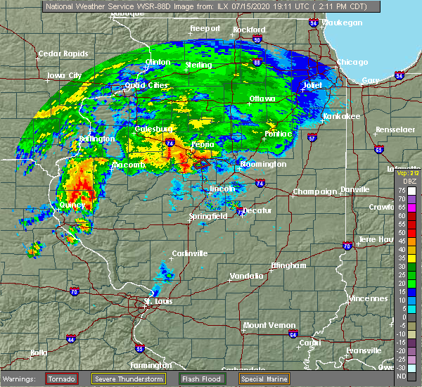 Radar Image for Severe Thunderstorms near East Peoria, IL at 7/15/2020 2:18 PM CDT