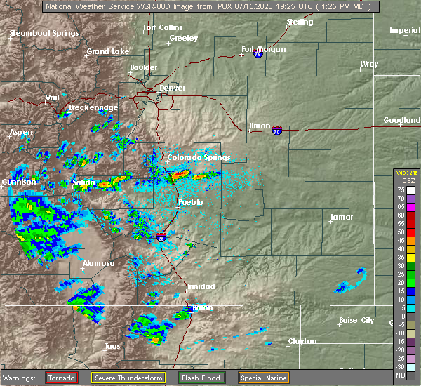 Radar Image for Severe Thunderstorms near Colorado Springs, CO at 7/15/2020 1:30 PM MDT