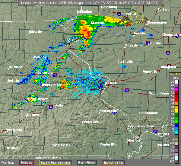 Radar Image for Severe Thunderstorms near Gasconade, MO at 7/15/2020 2:35 PM CDT