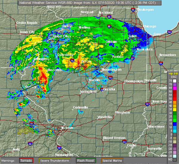 Radar Image for Severe Thunderstorms near East Peoria, IL at 7/15/2020 2:43 PM CDT