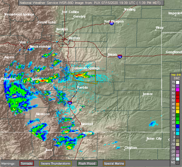 Radar Image for Severe Thunderstorms near Colorado Springs, CO at 7/15/2020 1:44 PM MDT