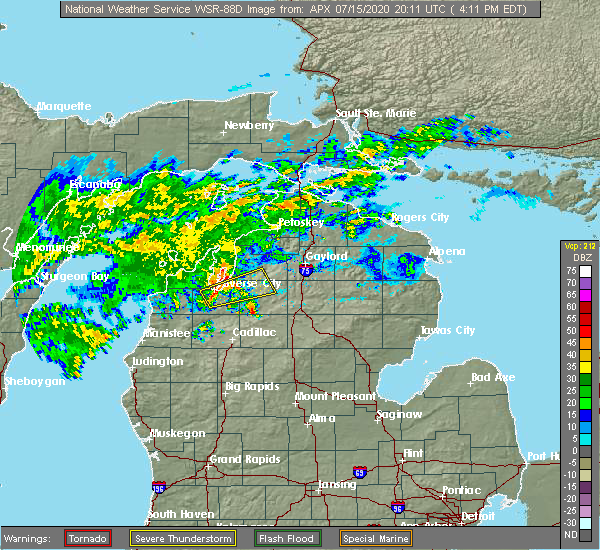 Radar Image for Severe Thunderstorms near South Boardman, MI at 7/15/2020 4:25 PM EDT