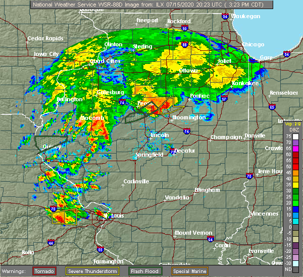 Radar Image for Severe Thunderstorms near Flanagan, IL at 7/15/2020 3:31 PM CDT