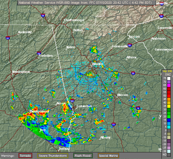 Radar Image for Severe Thunderstorms near Duluth, GA at 7/15/2020 4:49 PM EDT