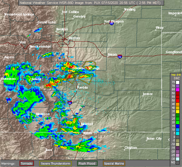 Radar Image for Severe Thunderstorms near Colorado Springs, CO at 7/15/2020 2:59 PM MDT