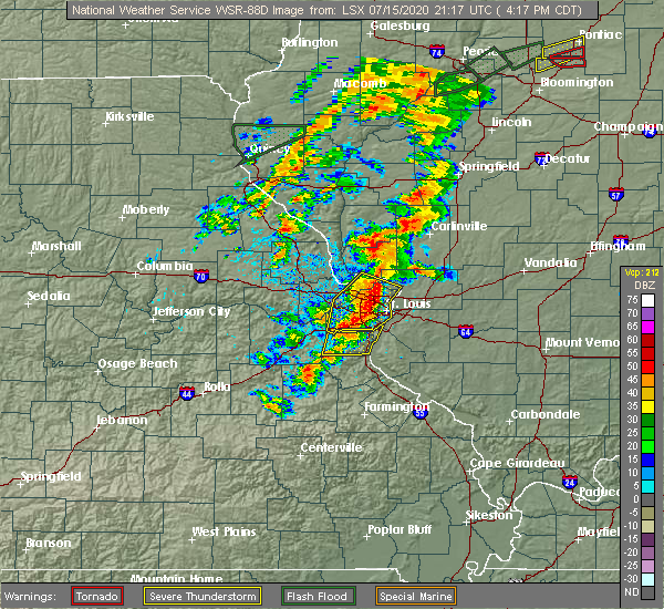 Radar Image for Severe Thunderstorms near New Baden, IL at 7/15/2020 4:23 PM CDT