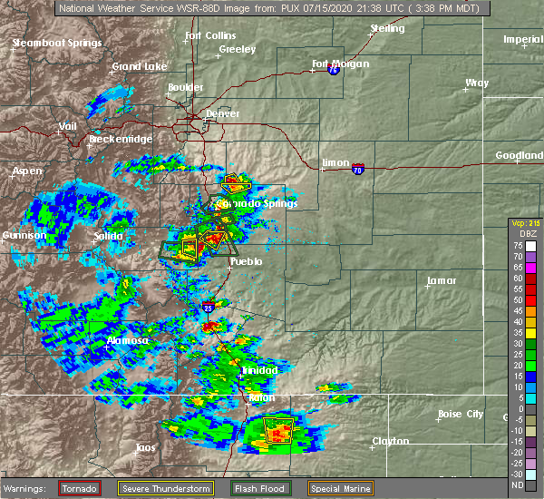 Radar Image for Severe Thunderstorms near Pueblo West, CO at 7/15/2020 3:42 PM MDT